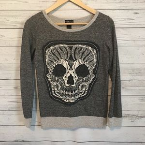 Wet Seal Gray Lace Skull Sweater S